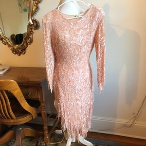 Vintage silk beaded midi dress